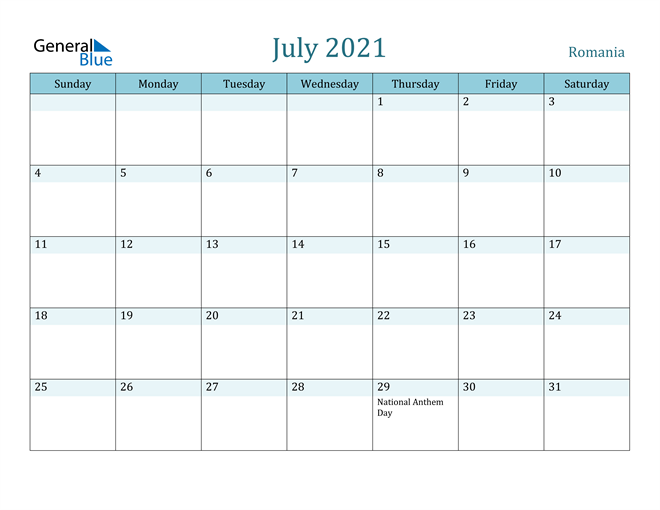 July 2021 Colorful Turquoise Calendar in PDF, Word and Excel Calendar