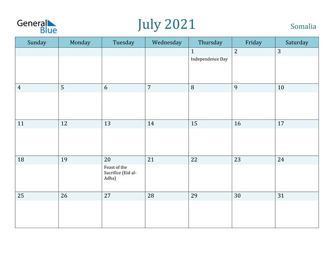 July 2021 Calendar with Holidays in PDF, Word, and Excel