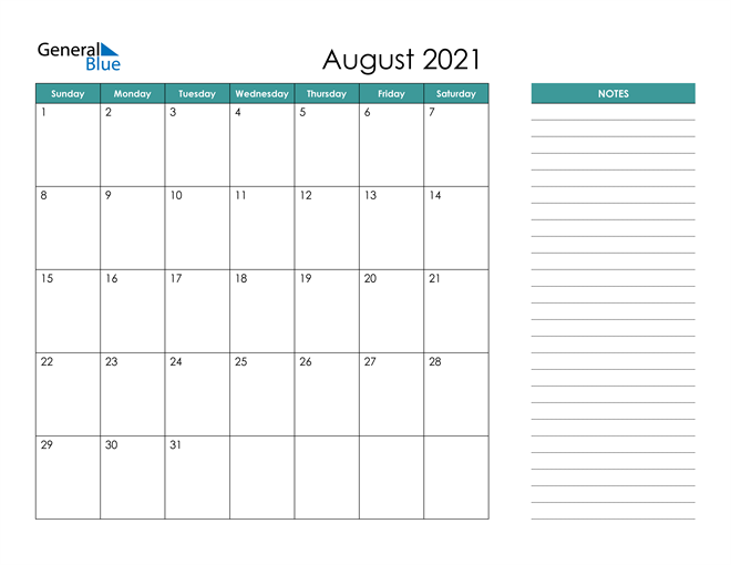 August 2021 Calendar with Notes