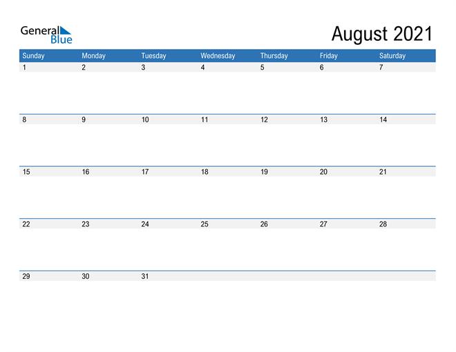 Fillable Calendar for August 2021