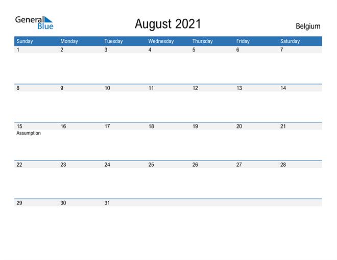 Fillable August 2021 Calendar