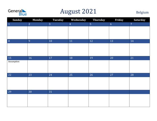 August 2021 Belgium Calendar