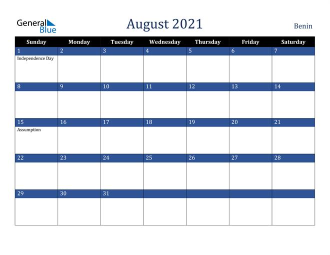 August 2021 Benin Calendar