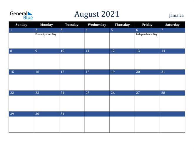 August 2021 Jamaica Calendar