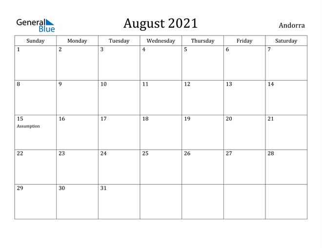 Image of August 2021 Andorra Calendar with Holidays Calendar