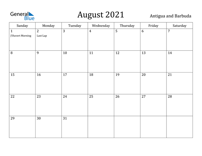 Image of August 2021 Antigua and Barbuda Calendar with Holidays Calendar