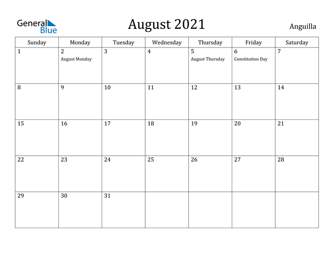 Image of August 2021 Anguilla Calendar with Holidays Calendar
