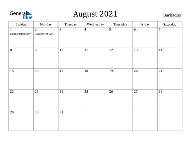 Image of August 2021 Barbados Calendar with Holidays Calendar
