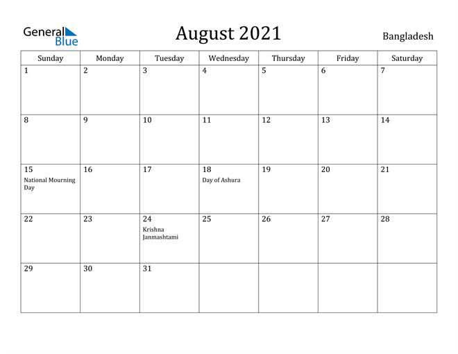 Image of August 2021 Bangladesh Calendar with Holidays Calendar