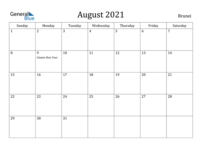 Image of August 2021 Brunei Calendar with Holidays Calendar