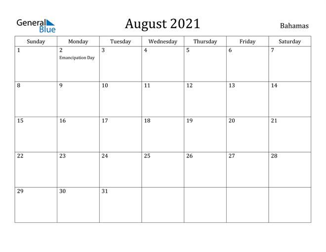 Image of August 2021 Bahamas Calendar with Holidays Calendar