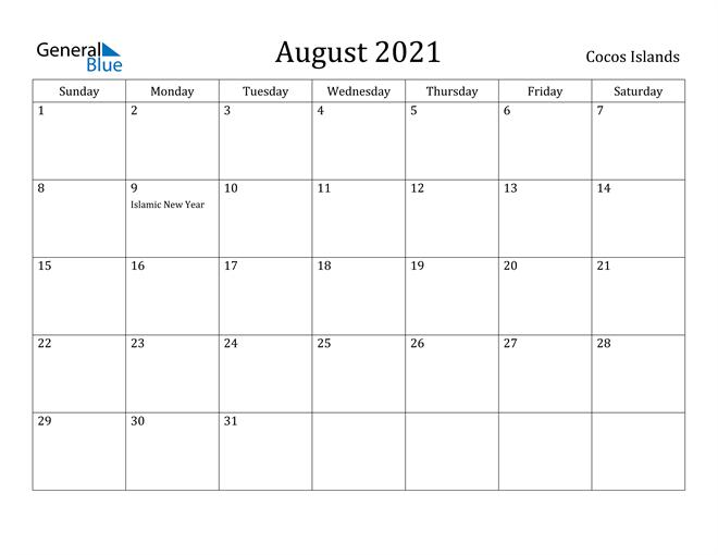 Image of August 2021 Cocos Islands Calendar with Holidays Calendar