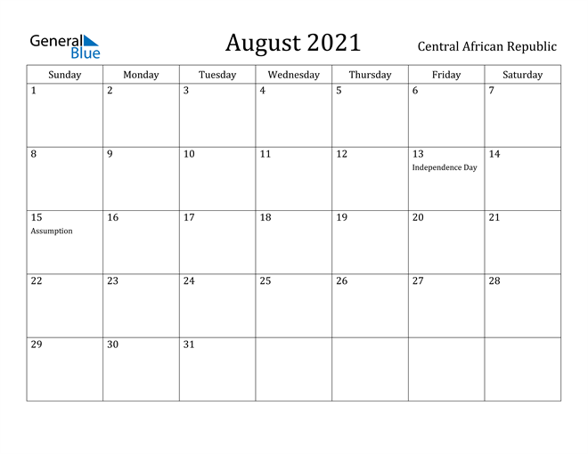 Image of August 2021 Central African Republic Calendar with Holidays Calendar