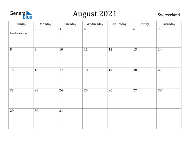 Image of August 2021 Switzerland Calendar with Holidays Calendar