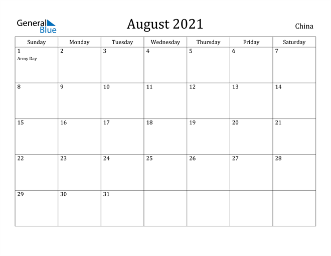 Image of August 2021 China Calendar with Holidays Calendar