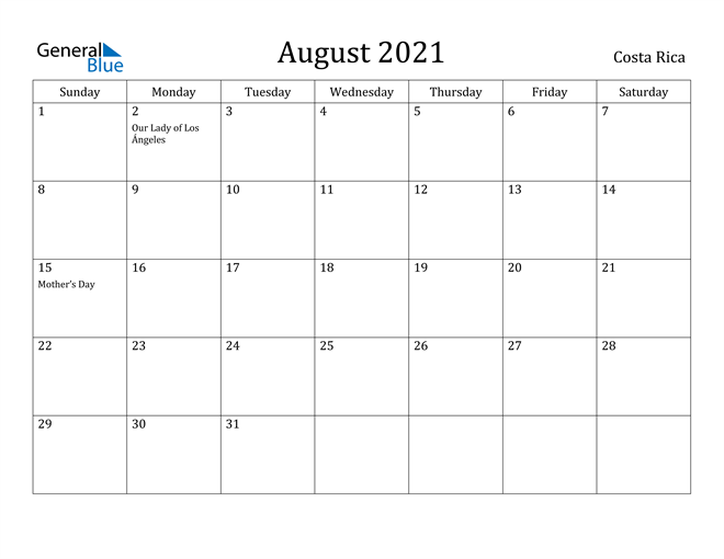 Image of August 2021 Costa Rica Calendar with Holidays Calendar