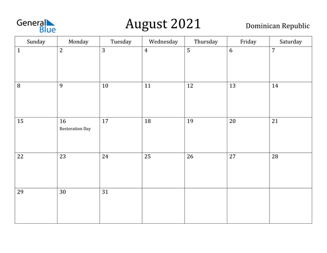 Image of August 2021 Dominican Republic Calendar with Holidays Calendar