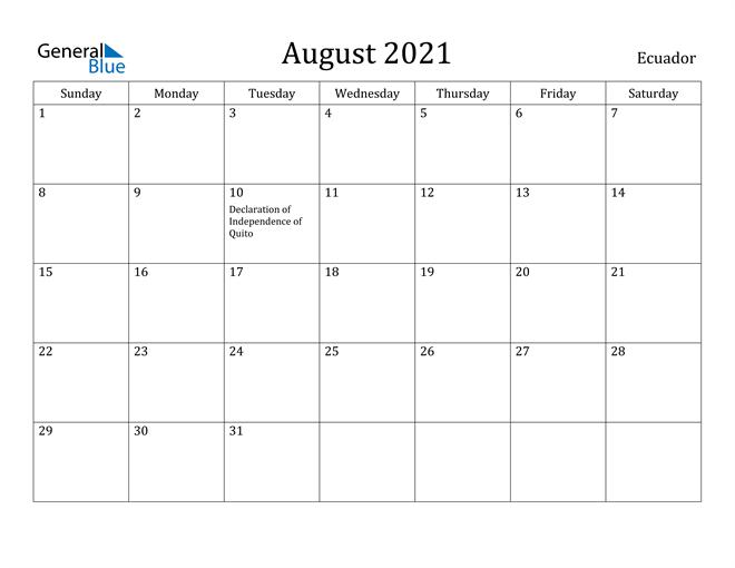 Image of August 2021 Ecuador Calendar with Holidays Calendar