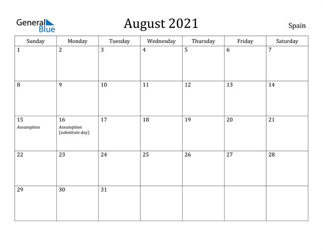 Image of August 2021 Spain Calendar with Holidays Calendar