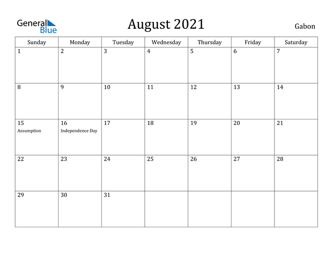 Image of August 2021 Gabon Calendar with Holidays Calendar