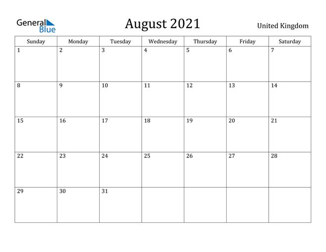 Image of August 2021 United Kingdom Calendar with Holidays Calendar