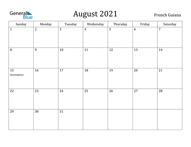 Image of August 2021 French Guiana Calendar with Holidays Calendar