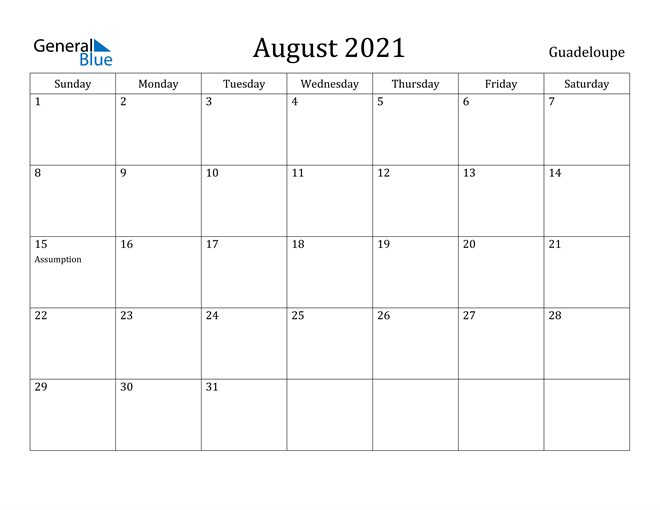 Image of August 2021 Guadeloupe Calendar with Holidays Calendar