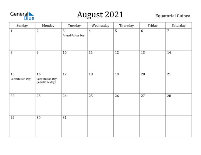 August 2021 Calendar Equatorial Guinea