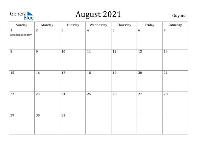 Image of August 2021 Guyana Calendar with Holidays Calendar