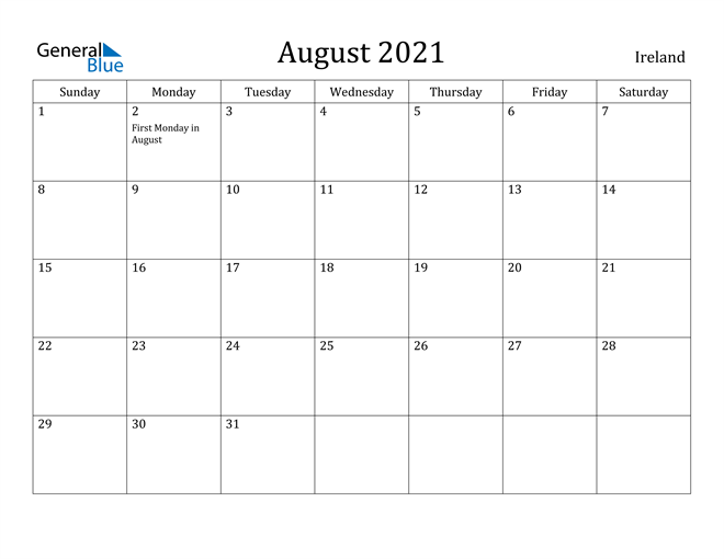 Image of August 2021 Ireland Calendar with Holidays Calendar