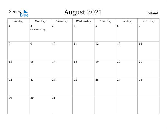Image of August 2021 Iceland Calendar with Holidays Calendar