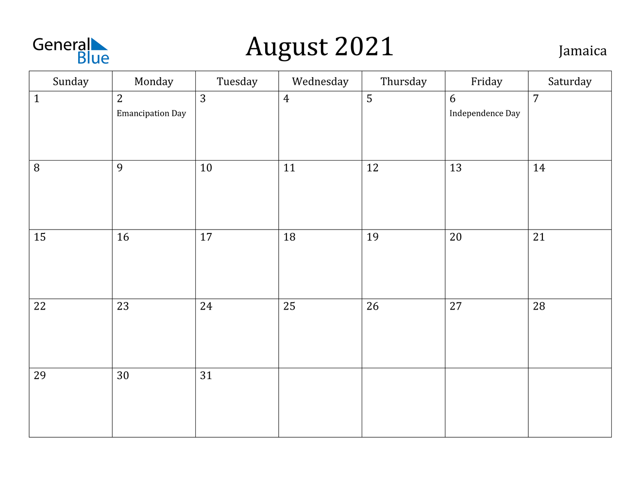 August 2021 Calendar - Jamaica