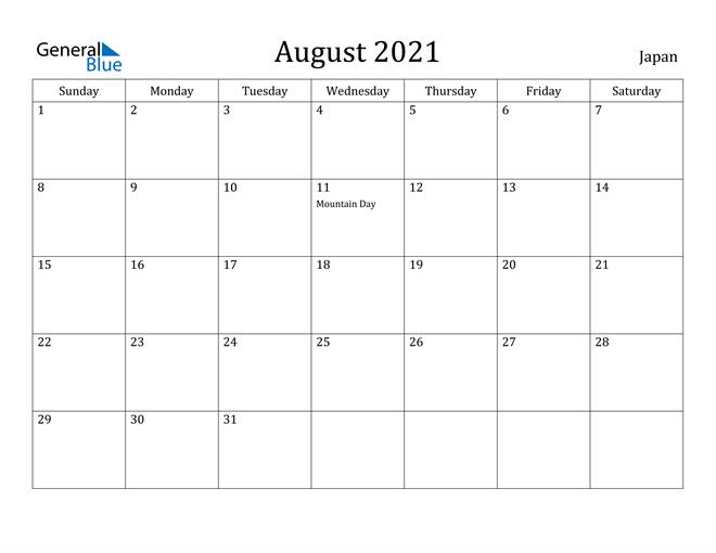 Image of August 2021 Japan Calendar with Holidays Calendar