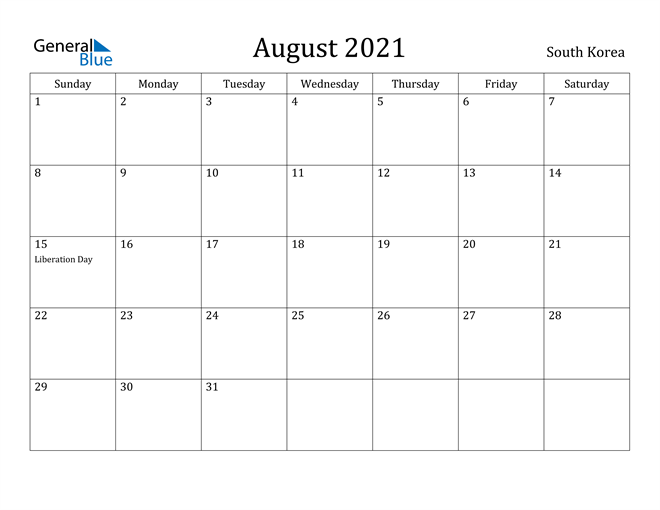 Image of August 2021 South Korea Calendar with Holidays Calendar