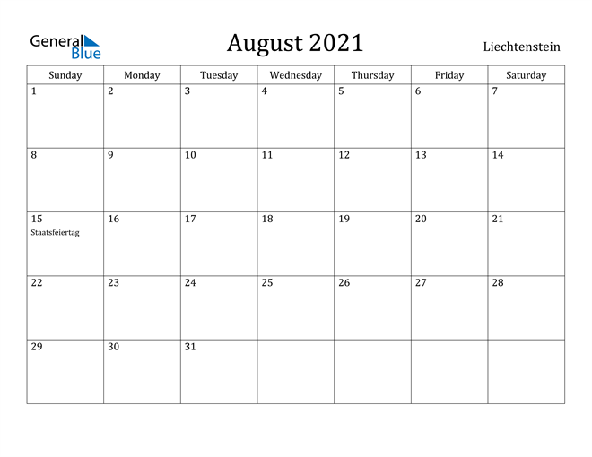 Image of August 2021 Liechtenstein Calendar with Holidays Calendar