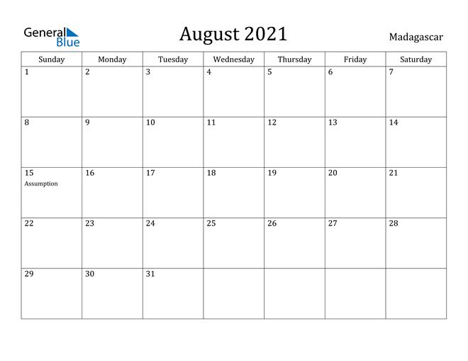 Image of August 2021 Madagascar Calendar with Holidays Calendar