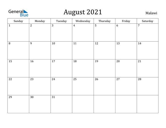 Image of August 2021 Malawi Calendar with Holidays Calendar