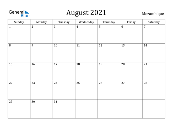 Image of August 2021 Mozambique Calendar with Holidays Calendar