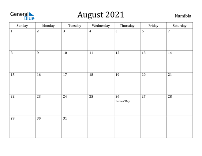 Image of August 2021 Namibia Calendar with Holidays Calendar
