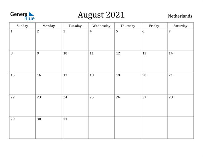 Image of August 2021 Netherlands Calendar with Holidays Calendar