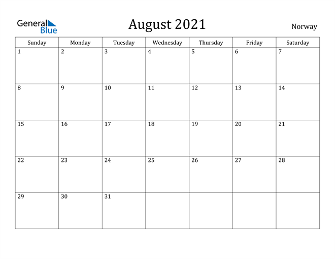 Image of August 2021 Norway Calendar with Holidays Calendar
