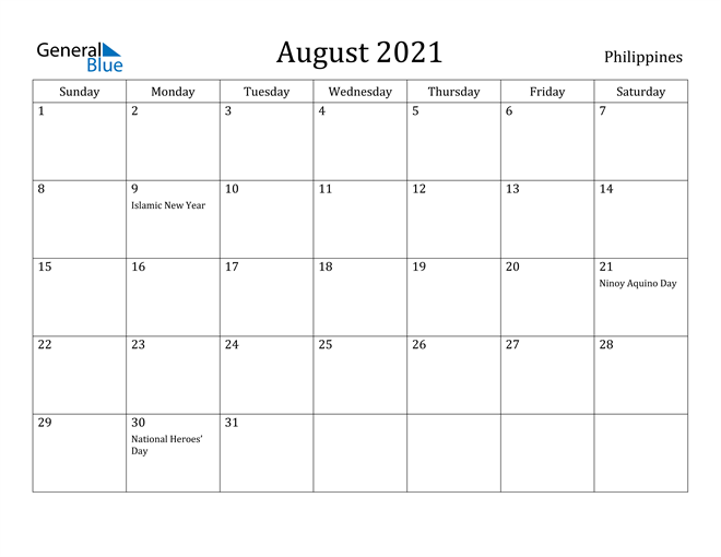 Image of August 2021 Philippines Calendar with Holidays Calendar