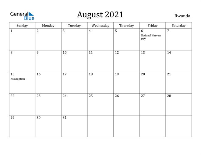 Image of August 2021 Rwanda Calendar with Holidays Calendar