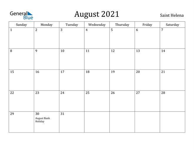 Image of August 2021 Saint Helena Calendar with Holidays Calendar
