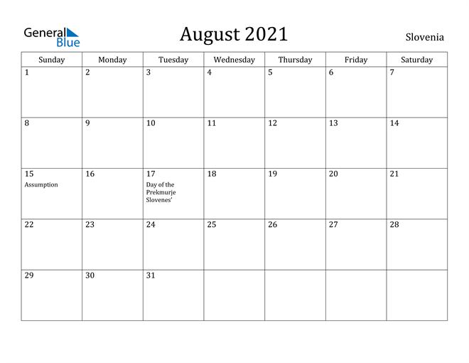 Image of August 2021 Slovenia Calendar with Holidays Calendar