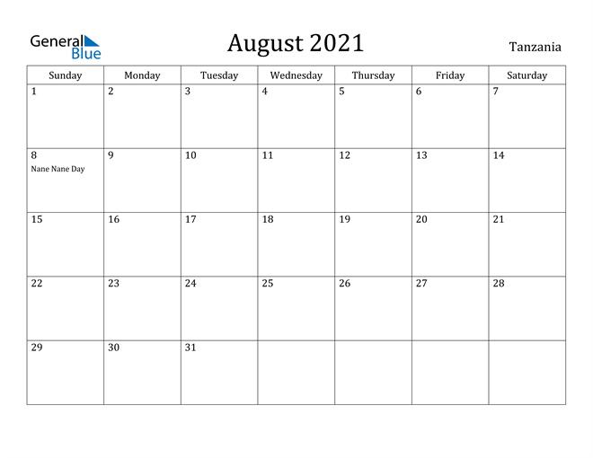 Image of August 2021 Tanzania Calendar with Holidays Calendar