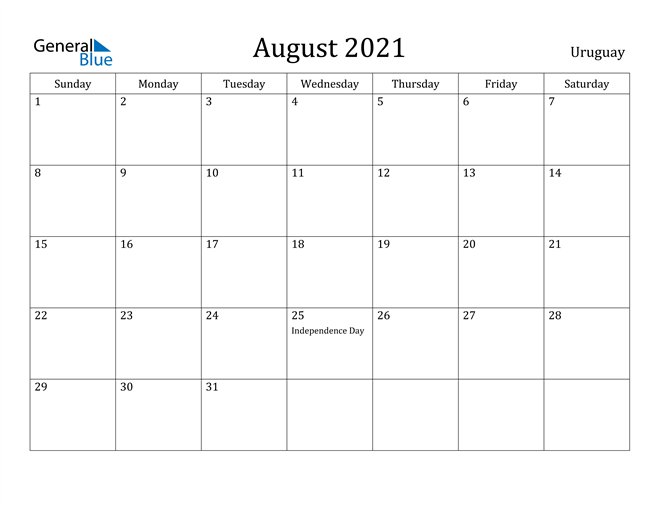 Image of August 2021 Uruguay Calendar with Holidays Calendar