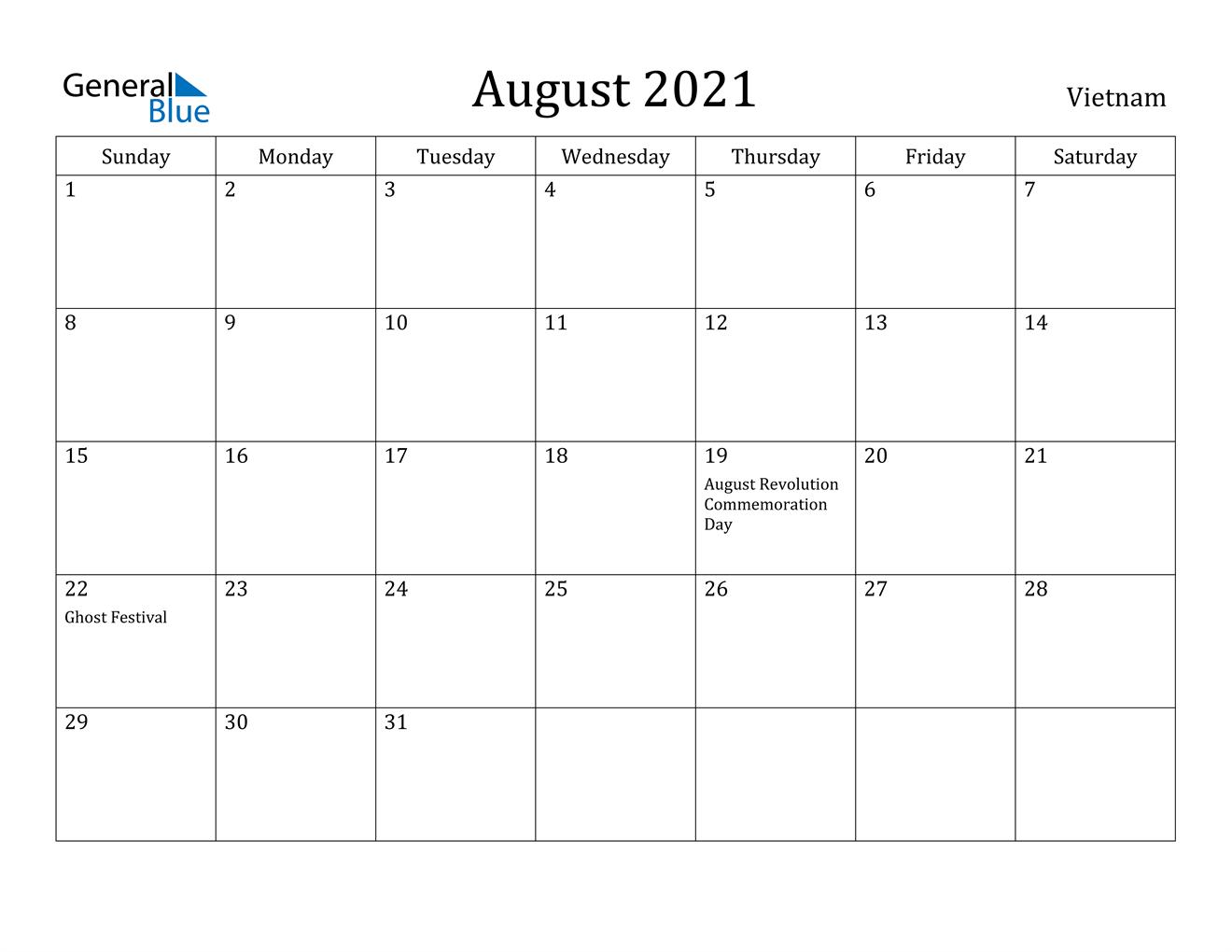 August 2021 Calendar - Vietnam