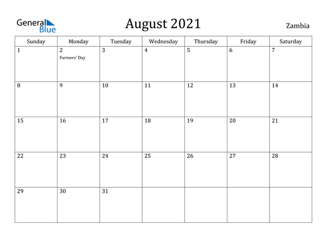 Image of August 2021 Zambia Calendar with Holidays Calendar