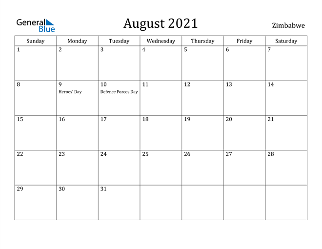 Image of August 2021 Zimbabwe Calendar with Holidays Calendar